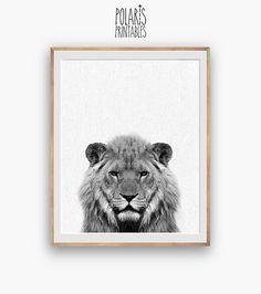 Lion nursery Print, peekaboo print, Nursery Art, Digital Download, Large Printable Poster, Safari Animal, Lion printable, Black and White