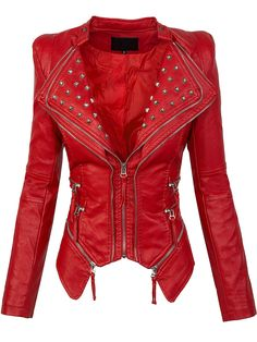 Rivet Plain Zipper Lapel Women's Jacket