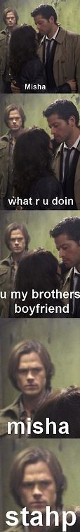 I don't like the whole shipping of Cas and Dean just because I think that's ridiculous ... but I think this is funny.