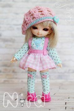 Set for pukipuki blouse skirt socks stockings beret от NiraDolls, $65.00
