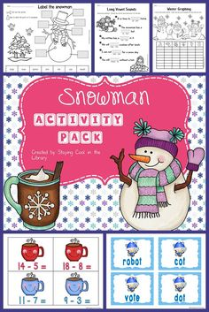 Snowman Activities!  Snowman math and literacy activities, printables and worksheets. Your students will love these fun snowman themed activities.