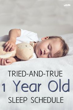 baby sleep Want a 1 year old sleep schedule thatll help your little one stay rested and happy Try this! via momfarfromhome 11 Month Old Baby, 1 Year Baby, One Year Old Baby, 1st Year, Baby Sleep Schedule, Toddler Schedule, 11 Month Old Schedule, 1 Year Old Meals, 1 Year Old Food