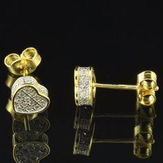Heart-Shape-Earrings-14k-Gold-Tone-Simulated-Diamond-Iced-Out-Womens-6mm-Studs