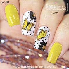 29 best summer floral and butterfly nails - Sayfa 29 / 29 - Fashion & Beauty Disney Acrylic Nails, Acrylic Nail Designs, Nail Art Designs, Oval Nails, Toe Nails, Butterfly Nail, Butterfly Pattern, Yellow Nails, Stylish Nails