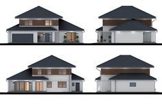 Projekt domu Verona IV, wizualizacja 4 Bungalow House Design, House Entrance, Modern Buildings, Home Fashion, Verona, Ground Floor, Sweet Home, Shed, Floor Plans