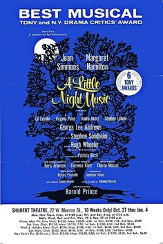 """A Little Night Music"" ... Chicago Premiere ... Shubert Theatre, 1974 - 1975"