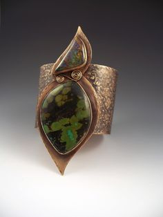 Cuff | Patti West.  Bronze, Ammolite and Turquoise. ...  Would be a great ring also ...
