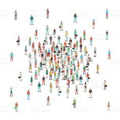 Foule de gens réunion au centre cliparts vectoriels libres de droits