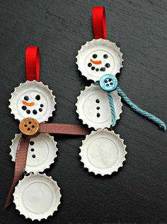 Repurpose ♥ Bottle Cap Snowman Ornaments