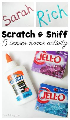 Scratch and Sniff Names 5 Senses Activity for Preschoolers Simple but meaningful 5 senses activity for kids to make today. Scratch-and-sniff names work on a variety of early learning concepts in a super fun way! 5 Senses Craft, Name Activities Preschool, Five Senses Preschool, 5 Senses Activities, My Five Senses, Preschool Science, Preschool Lessons, Preschool Learning, Early Learning
