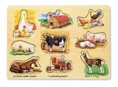 Melissa and Doug Farm Peg Puzzle -- This is an Amazon Affiliate link. Check this awesome product by going to the link at the image.