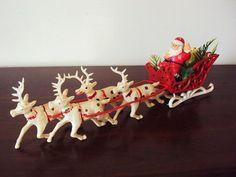 Vintage Christmas Reindeer Santa Claus and Sleigh Mid Century 1950s
