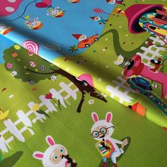 There's no place like #gnome ! NEW #easter Gnomeville #fabric  by @michaelmillerfabrics just arrived - Imagine the dress that would make ! Now on website elephantinmyhandbag.com - Search gnome OR comment below 7.50 per 60 cm x 110 cm panel #gnomeville #easterfabric #bunnies by elephantinmyhandbag