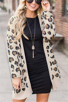 793fd2842428c Casual Fashion Long Leopard Print Cardigan Jacket Coat