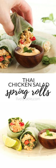 Thai Chicken Salad Spring Rolls - Healthy spring rolls filled with a flavorful Thai chicken salad are the perfect lunch or snack! Asian Recipes, Beef Recipes, Whole Food Recipes, Chicken Recipes, Healthy Recipes, Healthy Lunches, Healthy Eating, Thai Recipes, Delicious Recipes