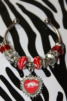 Arkansas razorback charm bracelet heart by BanglesBaublesBeads