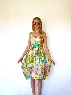 50s Silk Watercolor Floral Bombshell Bubble Dress xxs xs by VoyageurVintage on Etsy https://www.etsy.com/listing/256306020/50s-silk-watercolor-floral-bombshell
