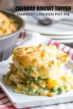 Creamy and delicious this Cheddar Biscuit Topped Harvest Chicken Pot Pie is full of hearty veggies and herbs and topped with soft and fluffy cheddar drop biscuits. Turkey Recipes, Pie Recipes, Fall Recipes, Easy Dinner Recipes, Chicken Recipes, Cooking Recipes, Easy Dinners, Quick Meals, Weeknight Dinners