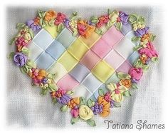 Beautiful ribbon embroidery design found on Country Bumpkin Publications Facebook post. By Tatiana Shames. Beautiful!