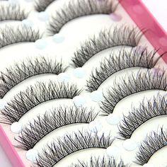 10 Pairs Natural Cross Elongated Eye Lashes Wedding Party Makeup False Eyelashes 8TQ3 #Affiliate