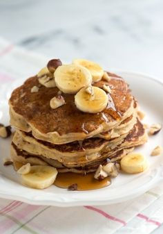 This easy Spiced Buttermilk Banana Pancakes recipe is perfect for breakfast with lots of ripe banana, buttermilk and spices. Banana Nut Pancakes, Whole Wheat Pancakes, Buttermilk Pancakes, Pancakes And Waffles, Fluffy Pancakes, Paleo Pancakes, Homemade Buttermilk, Pancakes Easy, Yummy Pancake Recipe