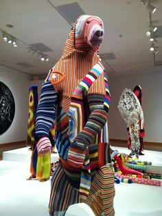 """Bear handsewn out of Gap sweaters by Nick Cave (no, not *that* Nick Cave). Part of the """"Meet Me at the Center of the Earth"""" exhibit at the Seattle Art Museum. Go there. See it. Right now."""