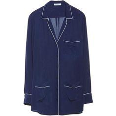 Equipment Gavin Peacoat Pajama Inspired Silk Shirt ($228) ❤ liked on Polyvore featuring coats & jackets, tops and peacoat