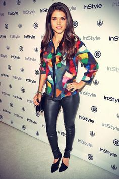 Marie Avgeropoulos attends InStyle Summer Soiree l Maria Avgeropoulos, Canadian Actresses, Leggings, Leather Trousers, Celebs, Celebrities, Celebrity Style, Autumn Fashion, Sexy Women