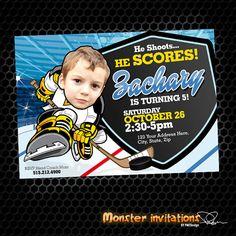 Hockey Invitation  Hockey Party  Hockey by MonsterInvitations, $10.00