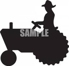 Farmer Clip Art Free | Silhouette Clipart of a Farmer Driving a Tractor