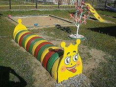 Recycle tires worm... #recycedtyres #playground #aboutthegarden.com.au