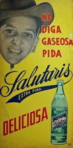 Vintage 1950s cardboard advertising sign for Cuba's Salutaris soda drink.