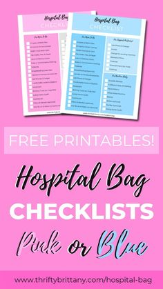 Print your FREE hospital bag essentials checklist in pink or blue for new expecting moms. Must-haves to pack for your vaginal birth labor, delivery, and postpartum recovery. Labor Hospital Bag, Newborn Baby Hospital, Hospital Bag Essentials, Hospital Bag Checklist, Newborn Essentials, Newborn Care, Baby Girl Diaper Bags, Postpartum Recovery, Before Baby