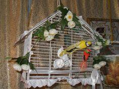 #decoration Весеннее декорирование клетки в виде светильника. Spring decoration in the form of bird cage lamp.
