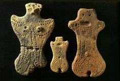 Female ceramic figurines, Dogu period, ca. BCE 3,500. Iwate, Japan.