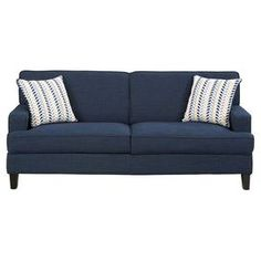 Linen Upholstered Sofa With Solid Wood Legs And Two Accent Pillows.  Product: SofaConstruction Material: Linen And WoodColor: Navy BlueFeatures:  Two Accent ...