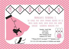 Bowling 50's Sock Hop Poodle Skirt Birthday Party Invitation via Etsy