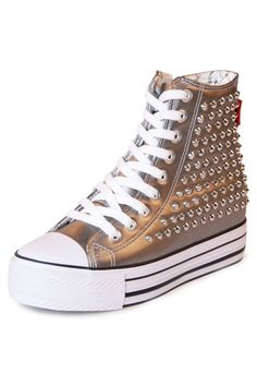 Edgy Spiked PU Woman High-Top Sneakers