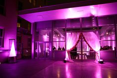 Silk drapes for the entrance! Fuchsia-Infused 50th Birthday Party at The Joule | photos: Jason Kindig Photography | event planning: DFW Events, www.dfwevents.com