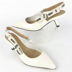 4d55d6c015e DIOR J ADIOR 36 6 White Patent Leather   Ribbon Slingback Heels Pumps