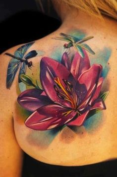 Latest 3D Lotus Flower With Dragonfly Tattoo On Girl Left Back ...