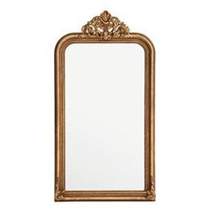 Bring classic style to your home décor with the guilded Boulogne Mirror. Featuring a frame with deep moulding and an ornamental crown in antique gold leaf, this beautiful wall mirror makes a sophisticated accent for your hallway, living room, or bedroom. How To Clean Mirrors, Acrylic Furniture, Wood Mirror, Mirror Glass, Mirror Mirror, Gold Walls, Beautiful Wall, Black Glass, Gold Leaf