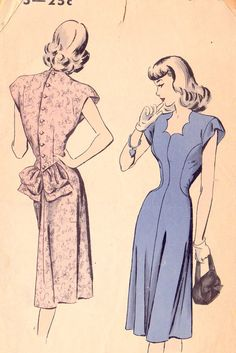 Vintage Sewing Patterns Hollywood 1940 Dresses Seam Interest Insets Shaped neckline Scallops Scalloped Neckline Back Button Bustle Loops Gathers Extended Shoulders Shoulder Pads Cap Sleeves Curved Seams Flared Dresses Dart tucks Drop Waist Vintage Dress Patterns, Dress Sewing Patterns, Clothing Patterns, Vintage Dresses, Vintage Outfits, Vintage Clothing, Pattern Dress, Sewing Ideas, 1940s Fashion