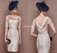 2016 Cocktail Dresses Open Back with Sleeves Champagne Lace Satin Mini Sheath Jewel Neck Mother of the Bride Dress Short Party Evening Gowns Online with $89.57/Piece on Sweet-life's Store | DHgate.com