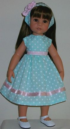 "Polka dot dress & alice band fits 18"" Dolls Designafriend/Gotz hannah"