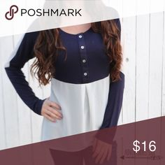 """Navy/Ivory Color Block Top HIGH LOW COLOR BLOCK TOP. FITS TRUE TO SIZE. (I'M 5'4"""", 108 LBS: MODELING A SMALL) •NO TRADES •AS45011-14 Tops Blouses"""