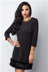 Emile Black Fur Trim Chain Detail Dress