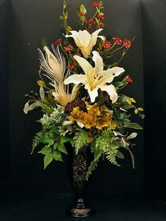Cream day lilies and golden hydrangeas. Annette at Michaels Arts & Crafts Madison, TN