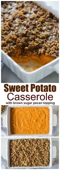 Easy Thanksgiving Recipe: Traditional sweet potato casserole with brown sugar pecan topping is easily my all-time-favorite Thanksgiving side dish! Fall Recipes, Holiday Recipes, Dinner Recipes, Kalbasa Recipes, Online Recipes, Veggie Recipes, Drink Recipes, Chicken Recipes, Sweet Potato Souffle
