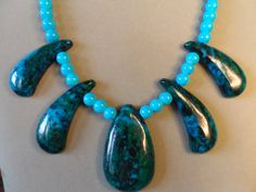 Chrysocolla focal stones and turquoise beads 16 by JemsbyJackieS, $55.00
